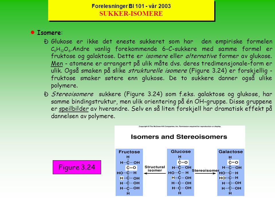 Forelesninger BI 101 - vår 2003 SUKKER-ISOMERE