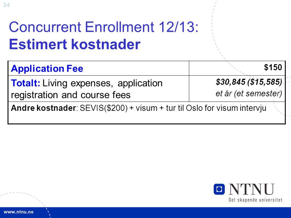 Concurrent Enrollment 12/13: Estimert kostnader