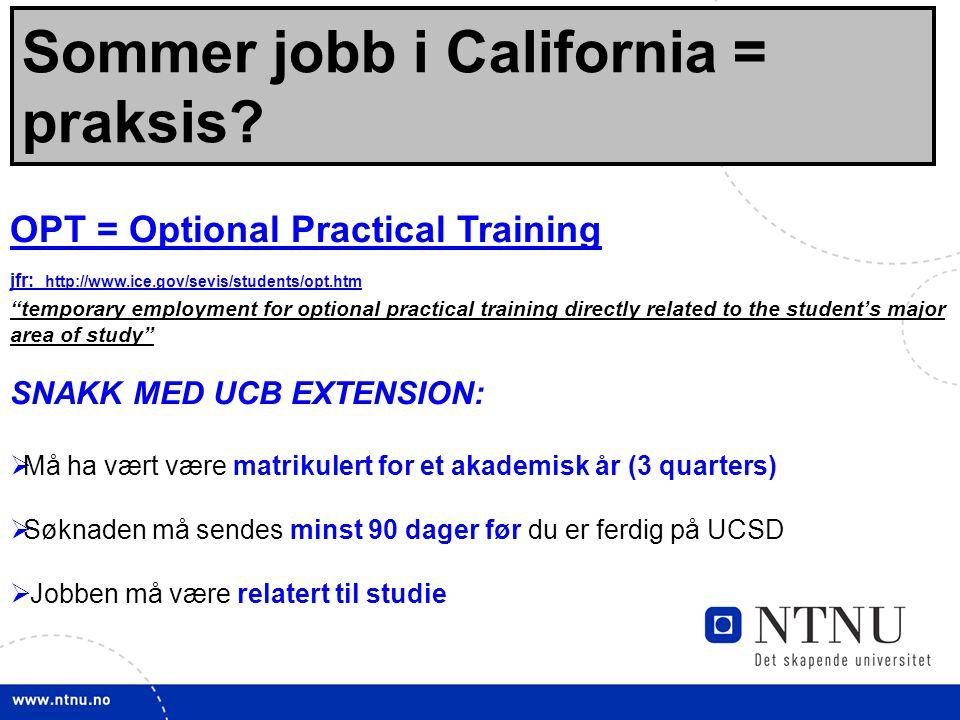 Sommer jobb i California = praksis