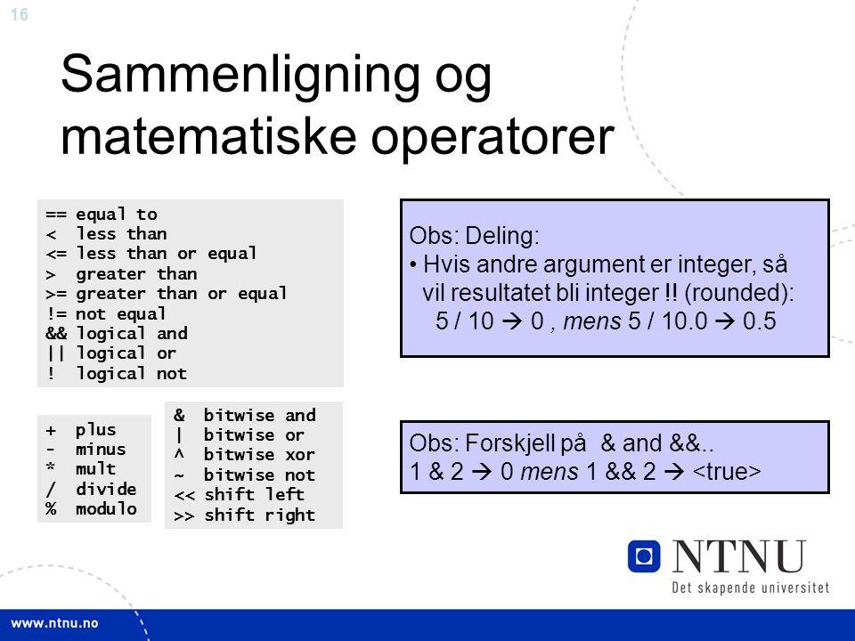 Sammenligning og matematiske operatorer