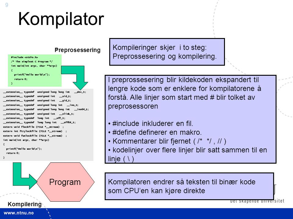 Kompilator Program Kompileringer skjer i to steg: