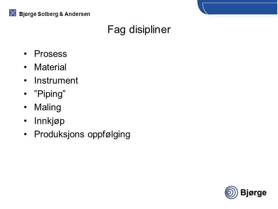 Fag disipliner Prosess Material Instrument Piping Maling Innkjøp