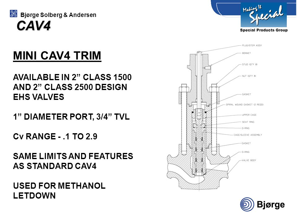 CAV4 Special Products Group. MINI CAV4 TRIM. AVAILABLE IN 2 CLASS 1500 AND 2 CLASS 2500 DESIGN EHS VALVES.