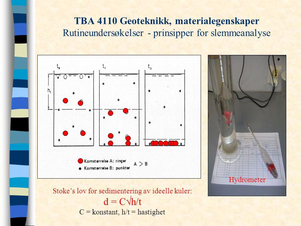 TBA 4110 Geoteknikk, materialegenskaper Rutineundersøkelser - prinsipper for slemmeanalyse