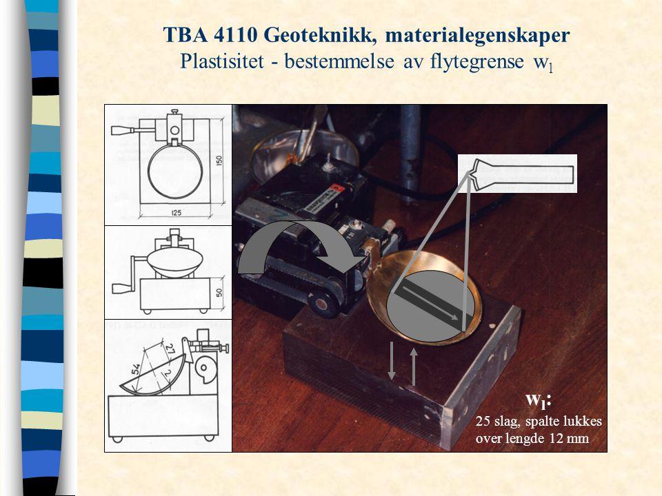 TBA 4110 Geoteknikk, materialegenskaper Plastisitet - bestemmelse av flytegrense wl