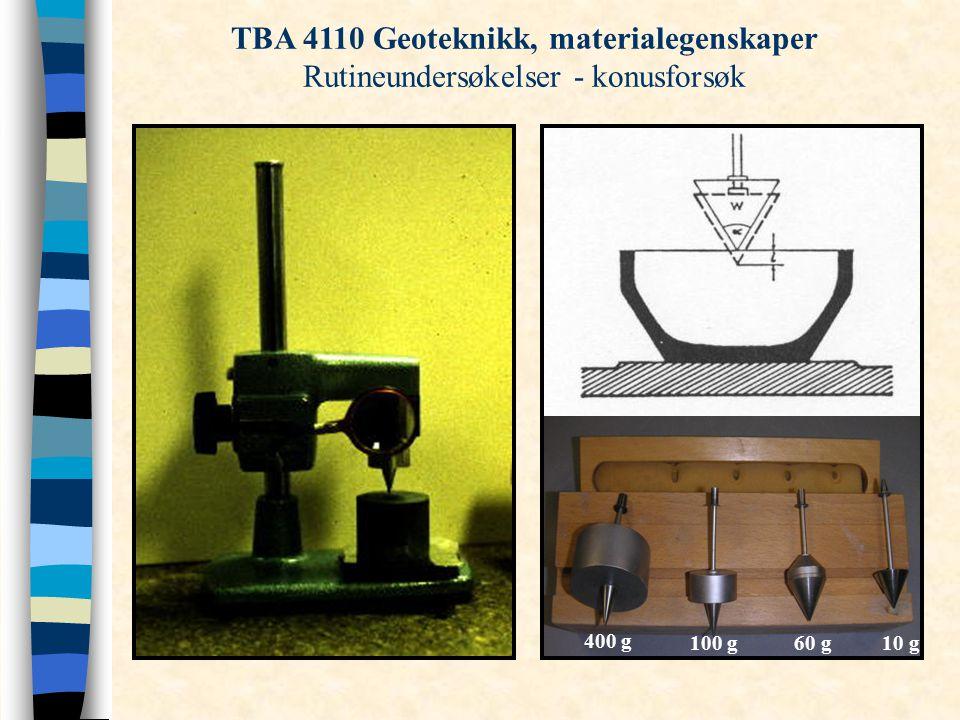 TBA 4110 Geoteknikk, materialegenskaper Rutineundersøkelser - konusforsøk