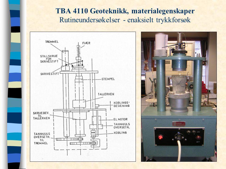 TBA 4110 Geoteknikk, materialegenskaper Rutineundersøkelser - enaksielt trykkforsøk