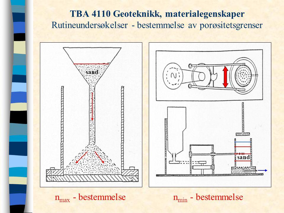 TBA 4110 Geoteknikk, materialegenskaper Rutineundersøkelser - bestemmelse av porøsitetsgrenser