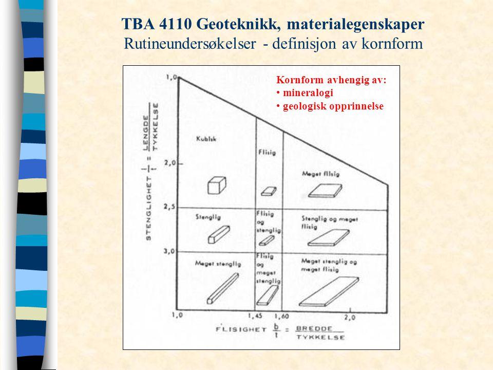 TBA 4110 Geoteknikk, materialegenskaper Rutineundersøkelser - definisjon av kornform