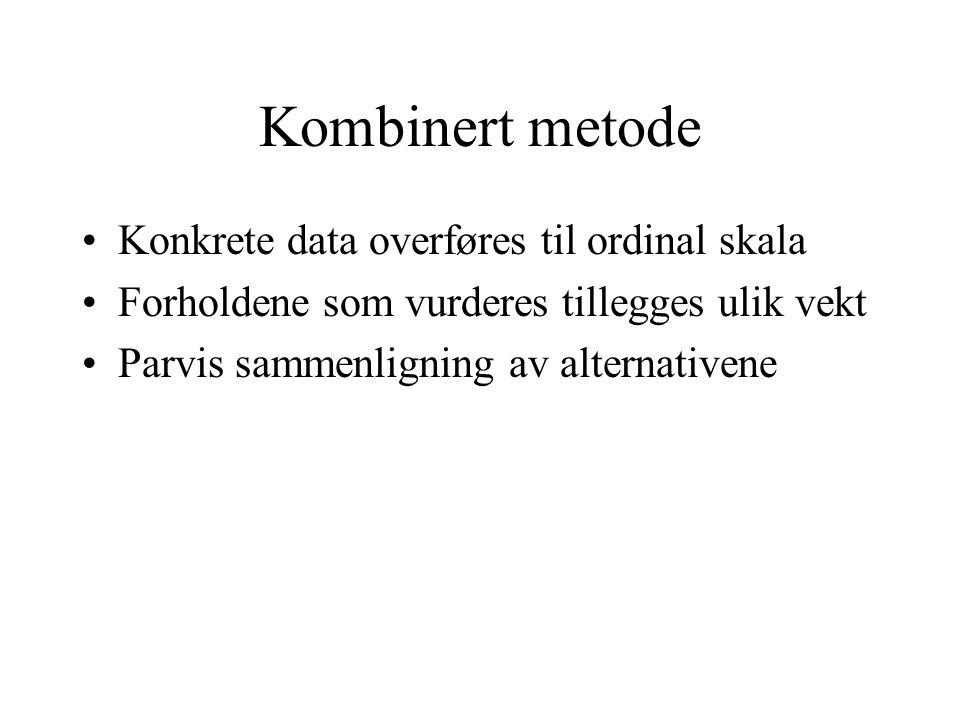 Kombinert metode Konkrete data overføres til ordinal skala