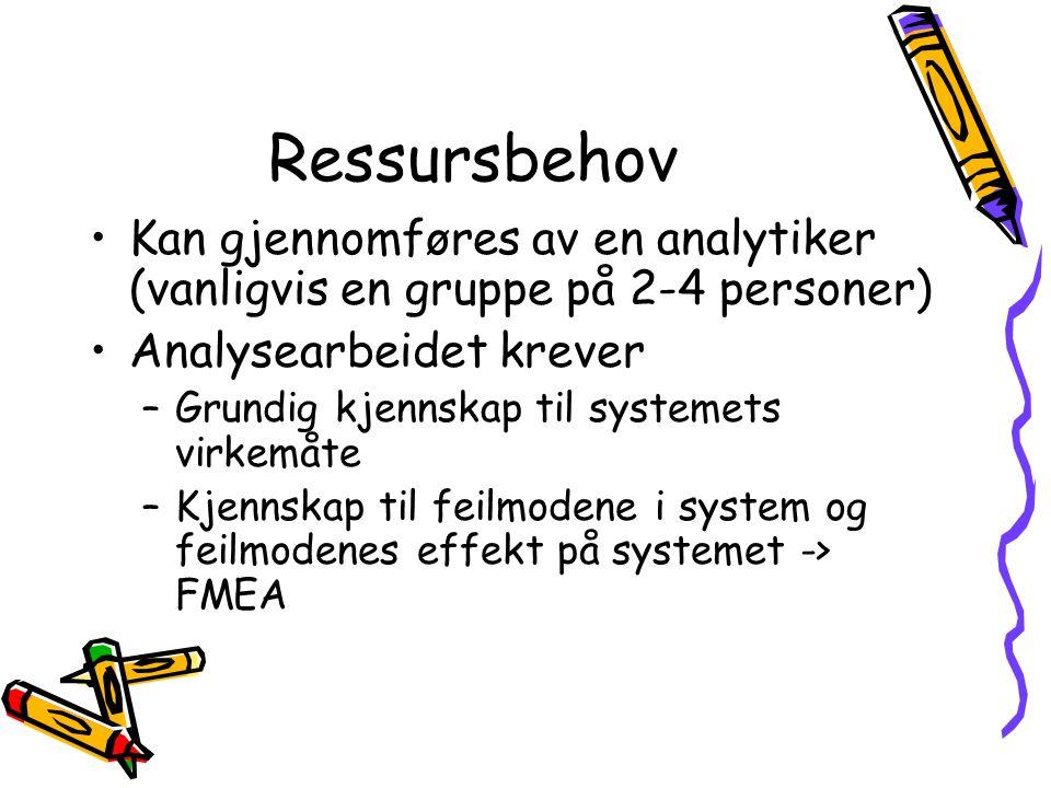 Ressursbehov Kan gjennomføres av en analytiker (vanligvis en gruppe på 2-4 personer) Analysearbeidet krever.