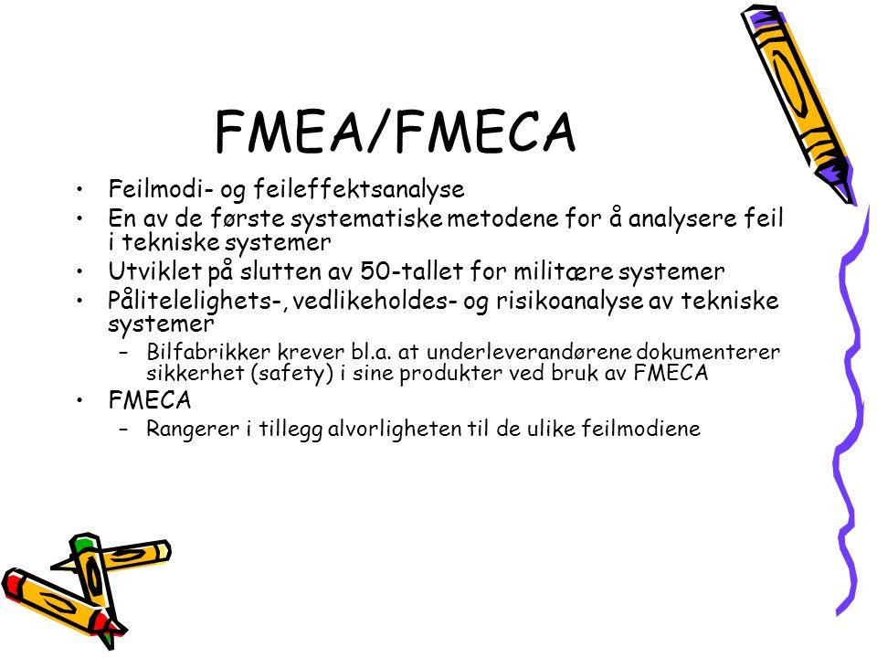FMEA/FMECA Feilmodi- og feileffektsanalyse