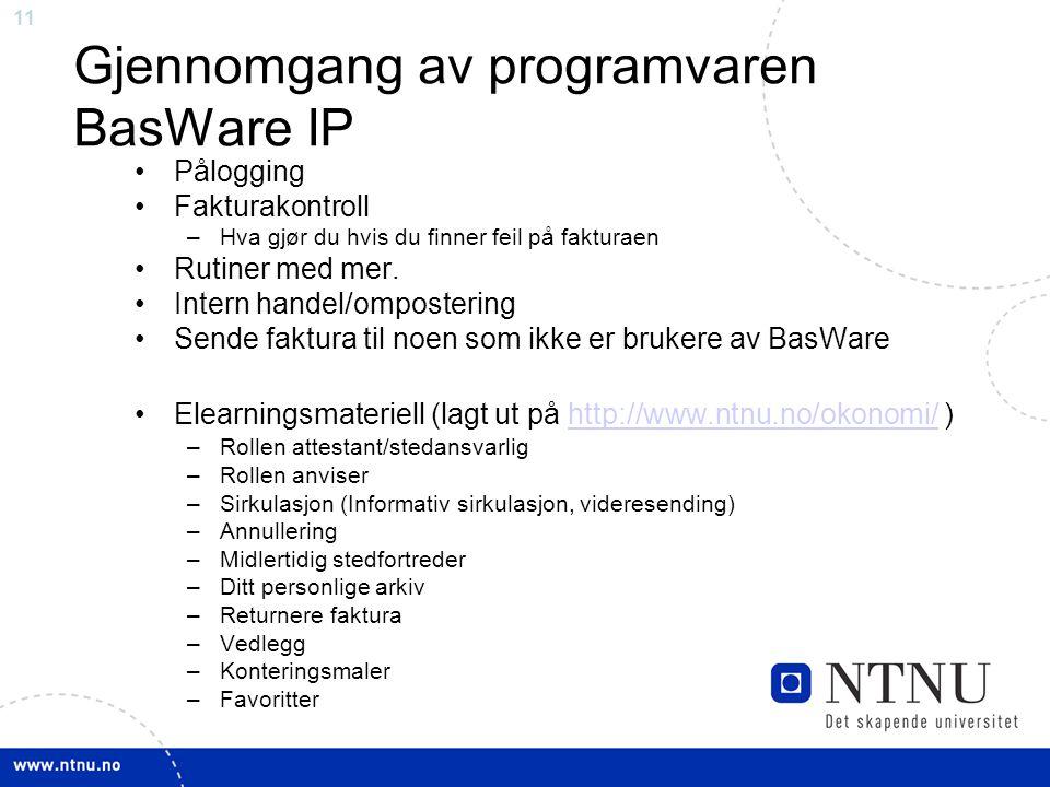 Gjennomgang av programvaren BasWare IP