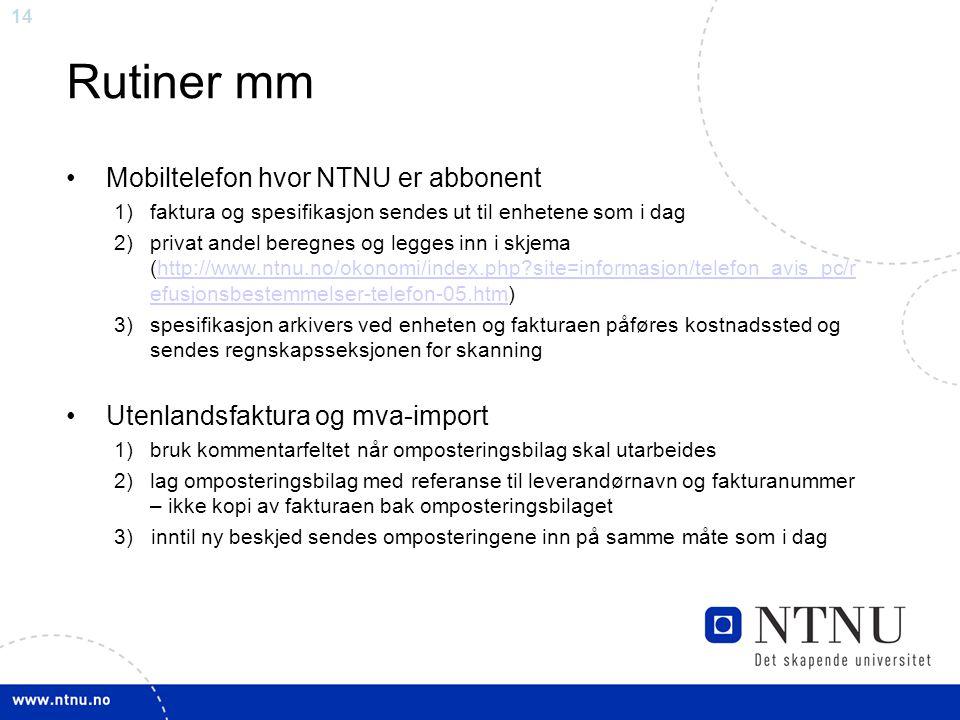 Rutiner mm Mobiltelefon hvor NTNU er abbonent