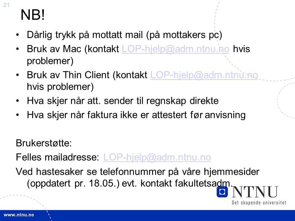 NB! Dårlig trykk på mottatt mail (på mottakers pc)