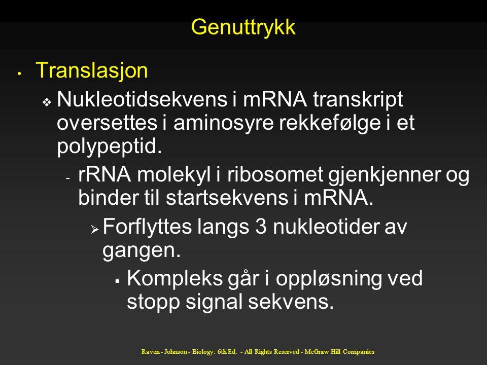 Forflyttes langs 3 nukleotider av gangen.