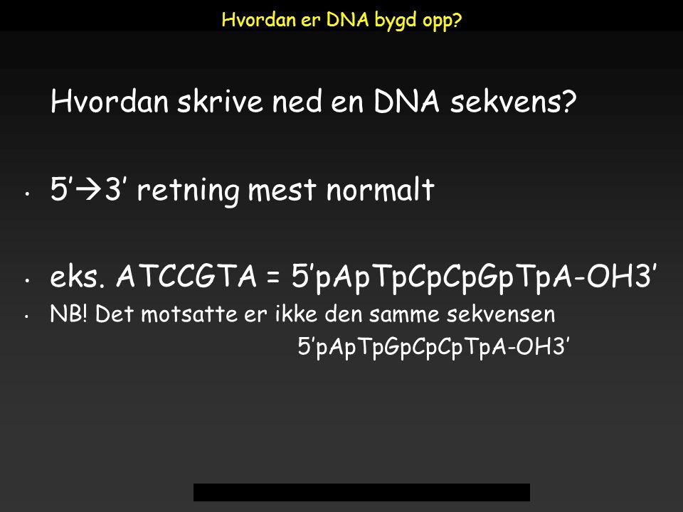 Hvordan skrive ned en DNA sekvens 5'3' retning mest normalt