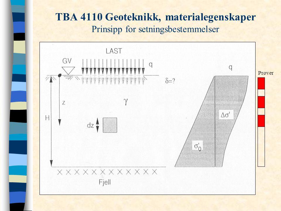 TBA 4110 Geoteknikk, materialegenskaper Prinsipp for setningsbestemmelser