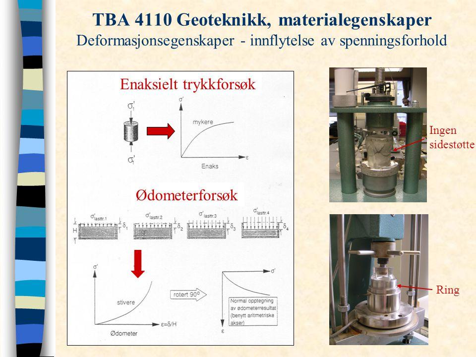 TBA 4110 Geoteknikk, materialegenskaper Deformasjonsegenskaper - innflytelse av spenningsforhold