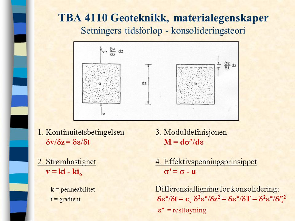 TBA 4110 Geoteknikk, materialegenskaper Setningers tidsforløp - konsolideringsteori