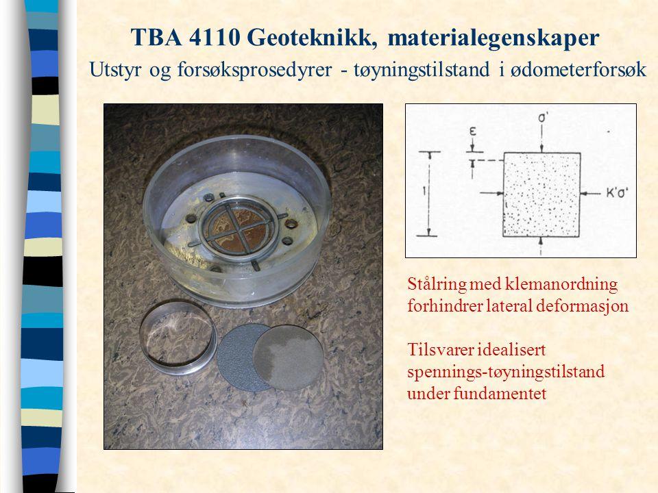 TBA 4110 Geoteknikk, materialegenskaper Utstyr og forsøksprosedyrer - tøyningstilstand i ødometerforsøk