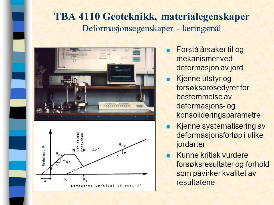 TBA 4110 Geoteknikk, materialegenskaper Deformasjonsegenskaper - læringsmål
