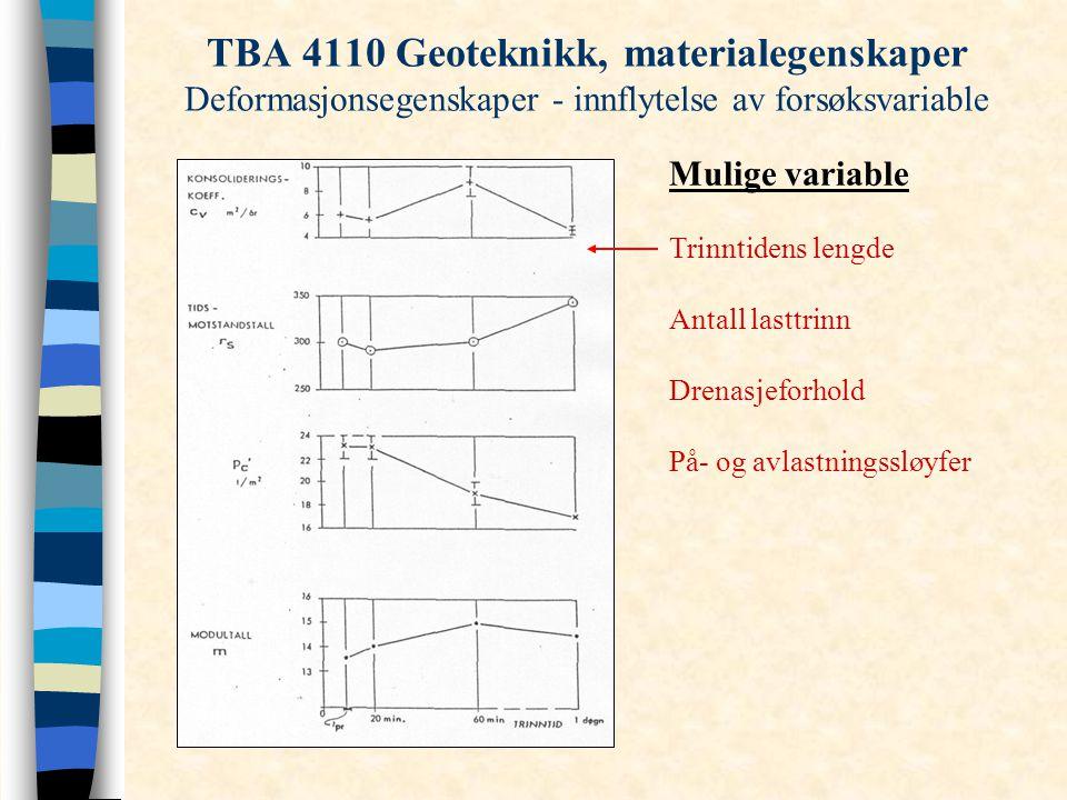 TBA 4110 Geoteknikk, materialegenskaper Deformasjonsegenskaper - innflytelse av forsøksvariable