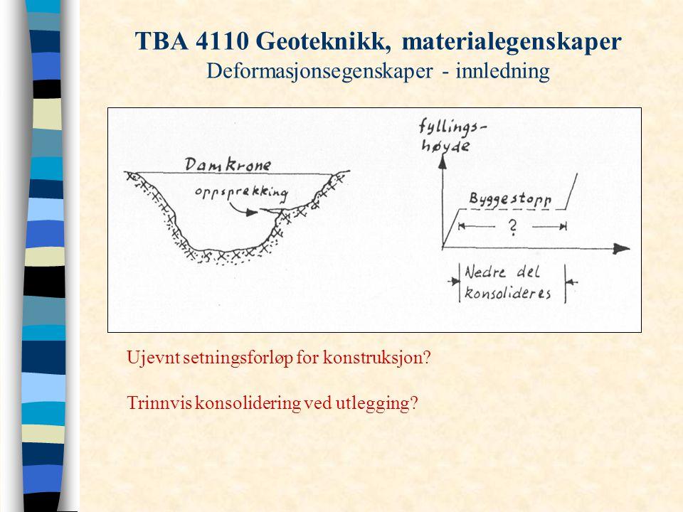 TBA 4110 Geoteknikk, materialegenskaper Deformasjonsegenskaper - innledning