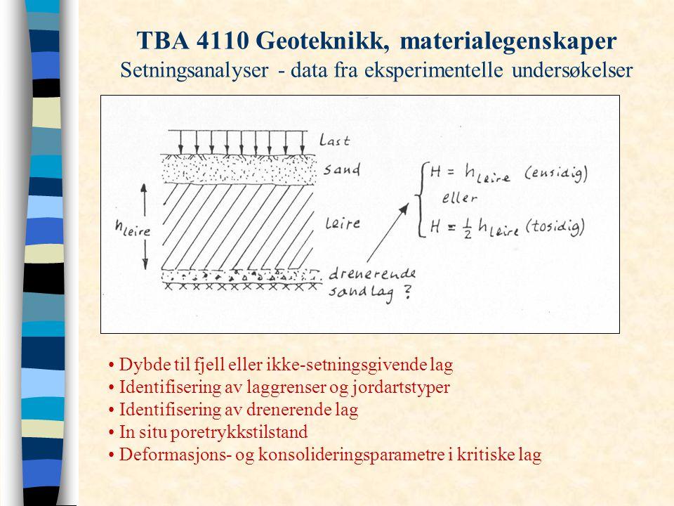 TBA 4110 Geoteknikk, materialegenskaper Setningsanalyser - data fra eksperimentelle undersøkelser