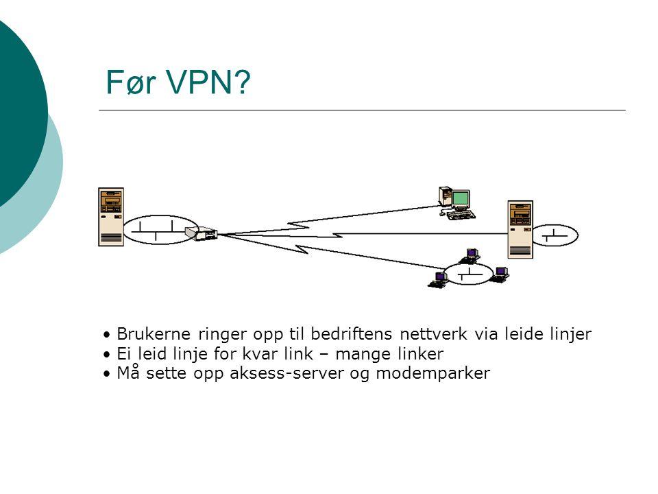 Før VPN Brukerne ringer opp til bedriftens nettverk via leide linjer