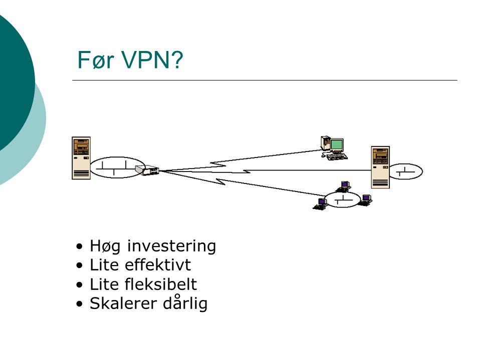 Før VPN Høg investering Lite effektivt Lite fleksibelt