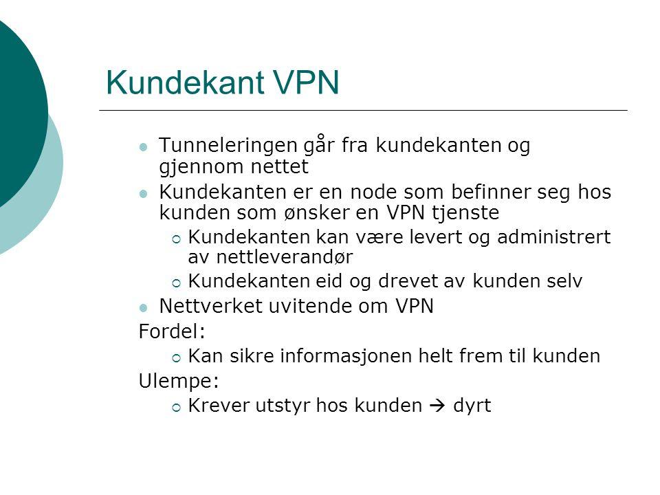 Kundekant VPN Tunneleringen går fra kundekanten og gjennom nettet