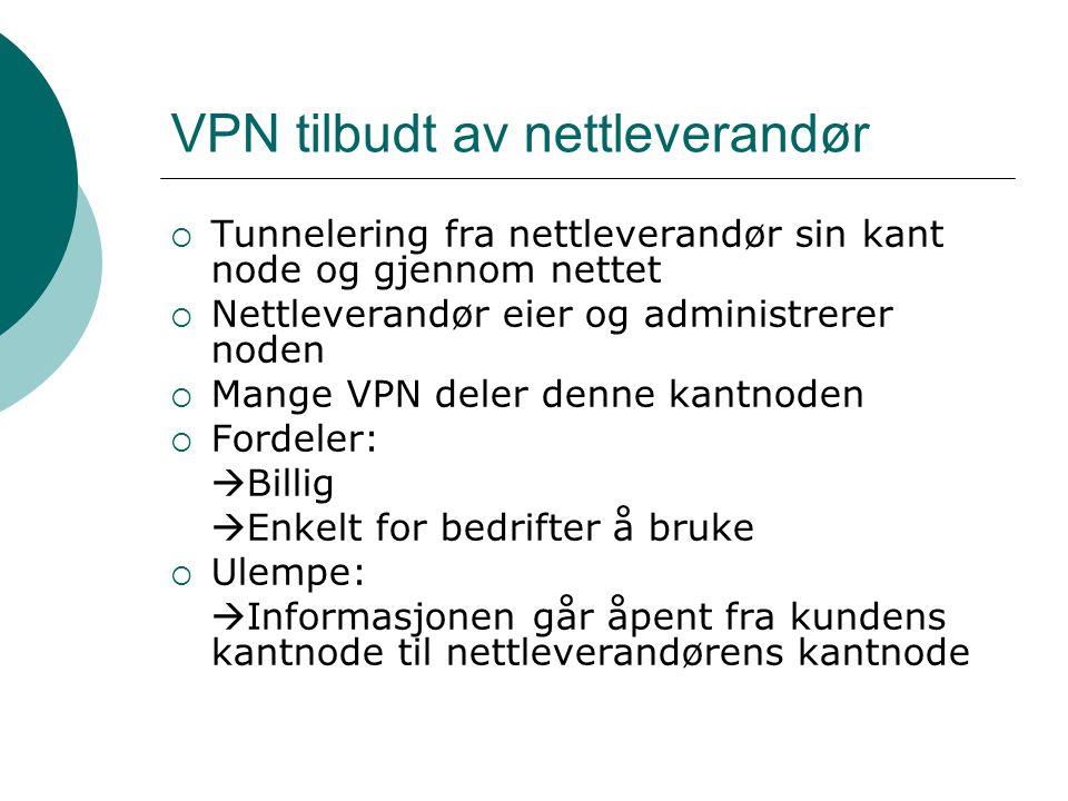 VPN tilbudt av nettleverandør