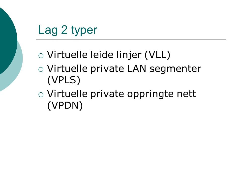 Lag 2 typer Virtuelle leide linjer (VLL)