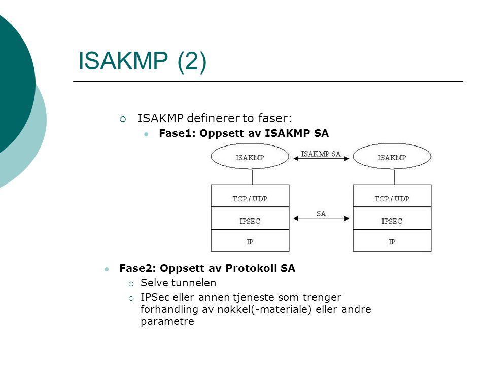 ISAKMP (2) ISAKMP definerer to faser: Fase1: Oppsett av ISAKMP SA