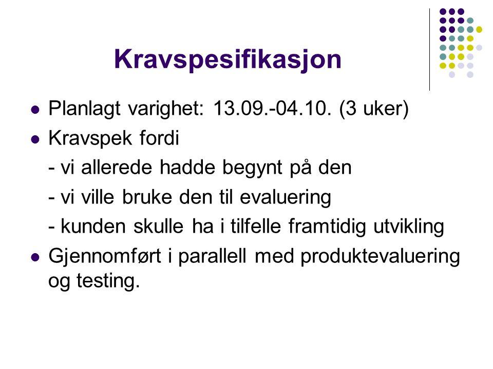 Kravspesifikasjon Planlagt varighet: 13.09.-04.10. (3 uker)