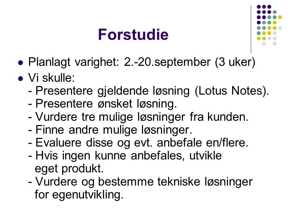 Forstudie Planlagt varighet: 2.-20.september (3 uker)