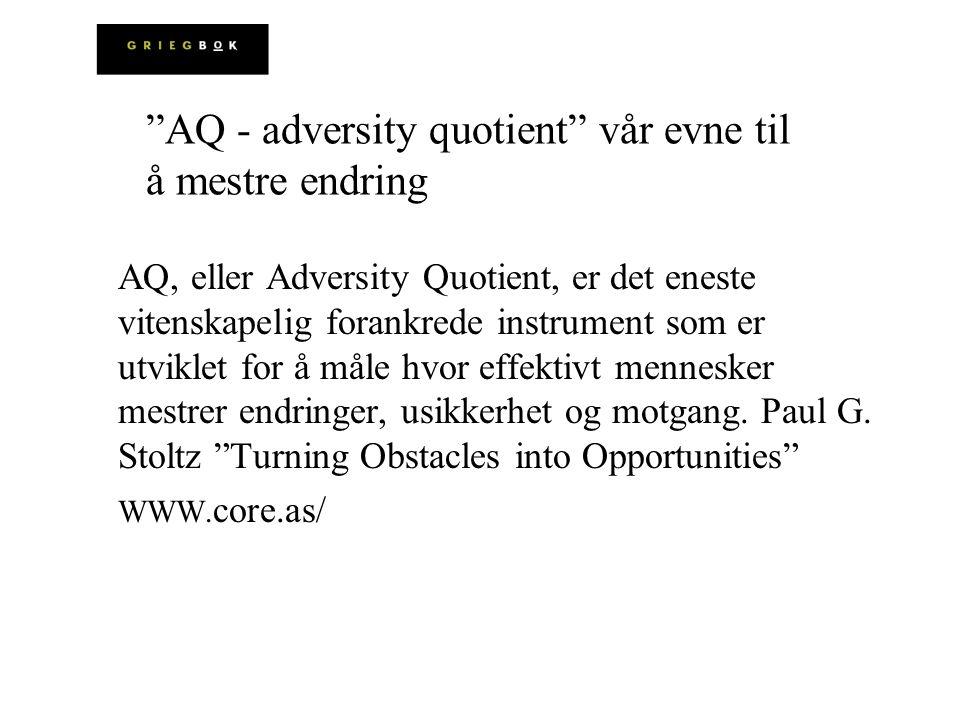 AQ - adversity quotient vår evne til å mestre endring