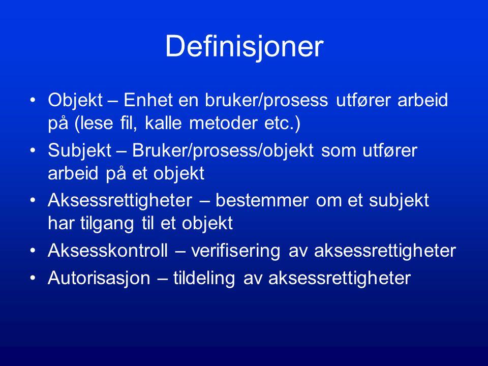 Definisjoner Objekt – Enhet en bruker/prosess utfører arbeid på (lese fil, kalle metoder etc.)