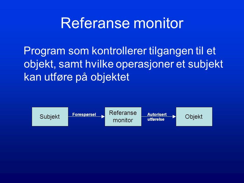 Referanse monitor Program som kontrollerer tilgangen til et objekt, samt hvilke operasjoner et subjekt kan utføre på objektet.