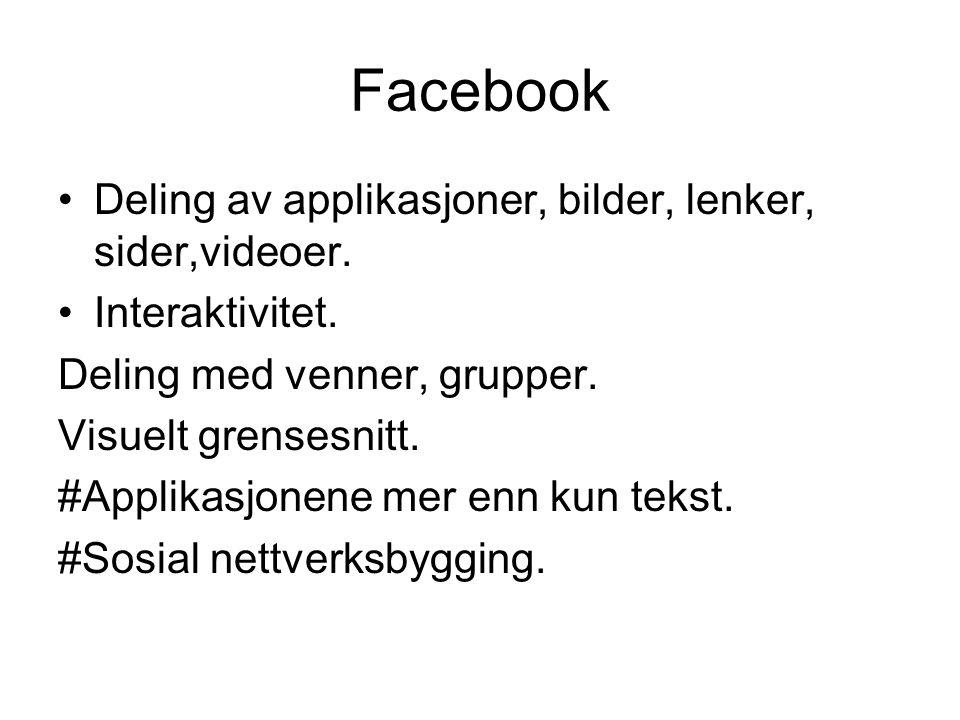 Facebook Deling av applikasjoner, bilder, lenker, sider,videoer.