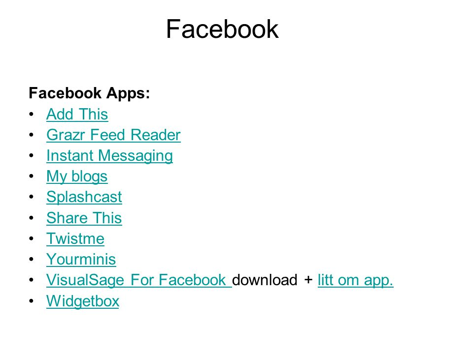 Facebook Facebook Apps: Add This Grazr Feed Reader Instant Messaging