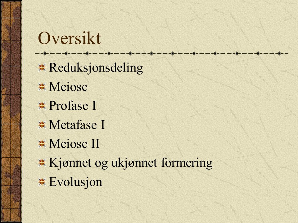 Oversikt Reduksjonsdeling Meiose Profase I Metafase I Meiose II