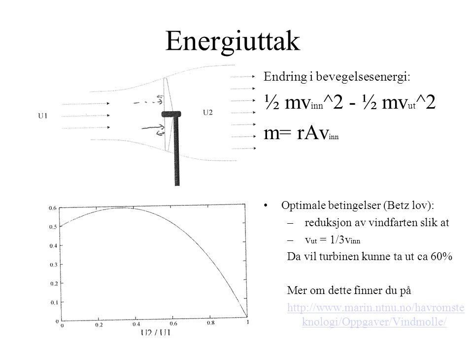 Energiuttak ½ mvinn^2 - ½ mvut^2 m= rAvinn Endring i bevegelsesenergi: