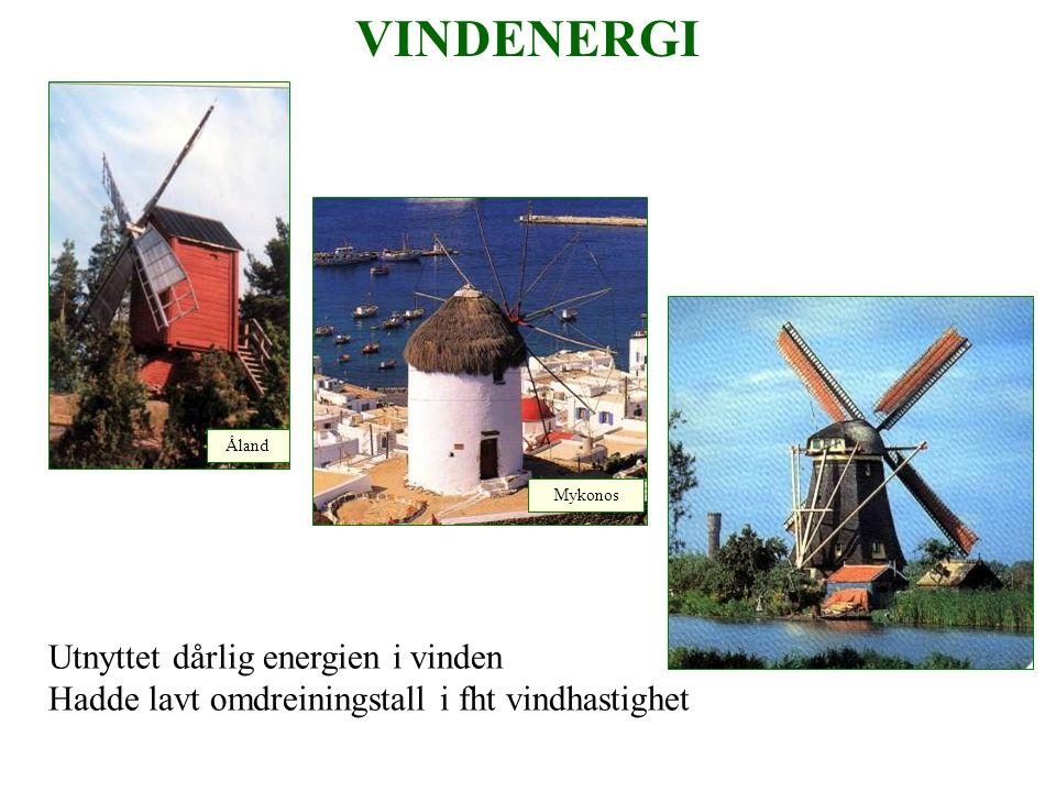 VINDENERGI Utnyttet dårlig energien i vinden