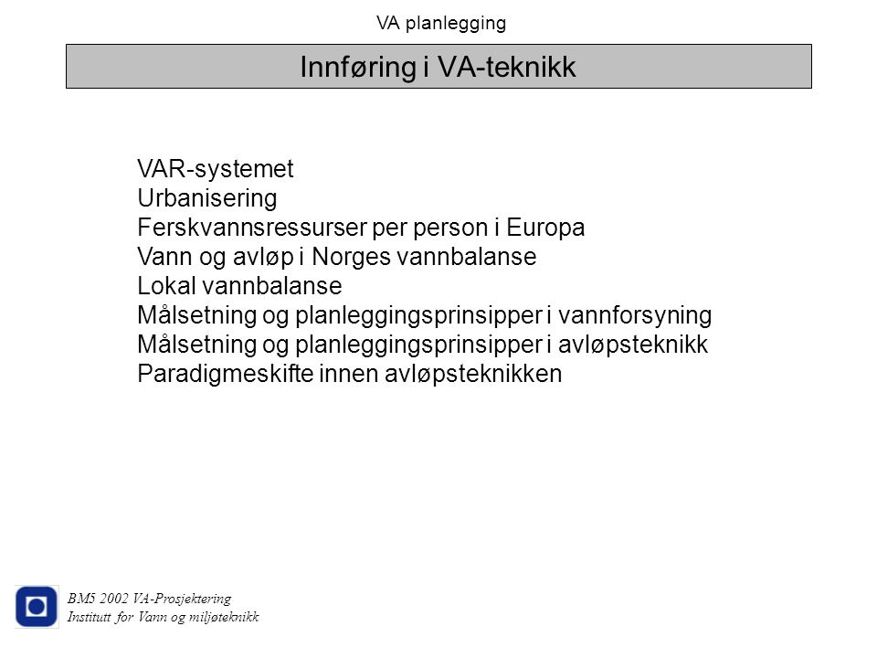 Innføring i VA-teknikk