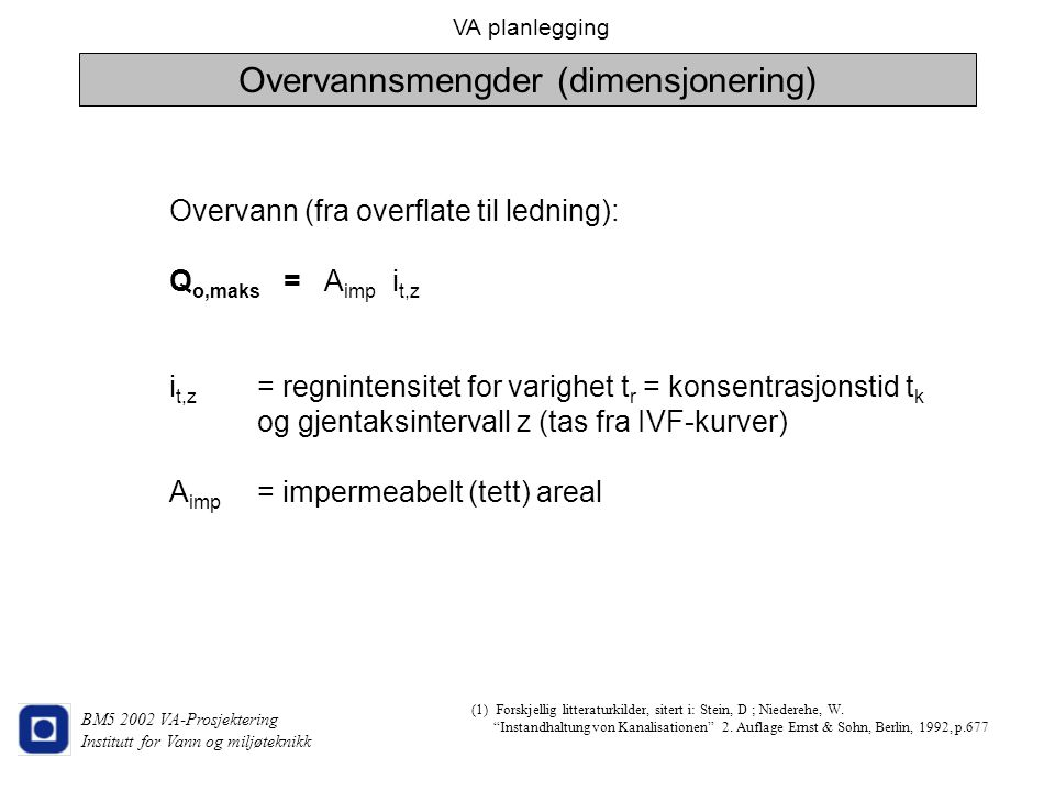 Overvannsmengder (dimensjonering)
