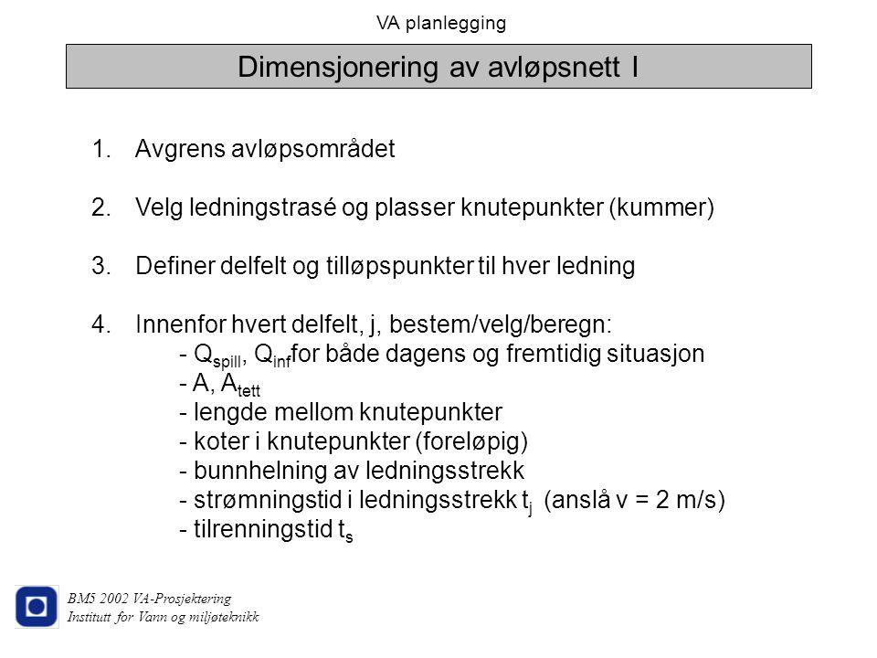 Dimensjonering av avløpsnett I