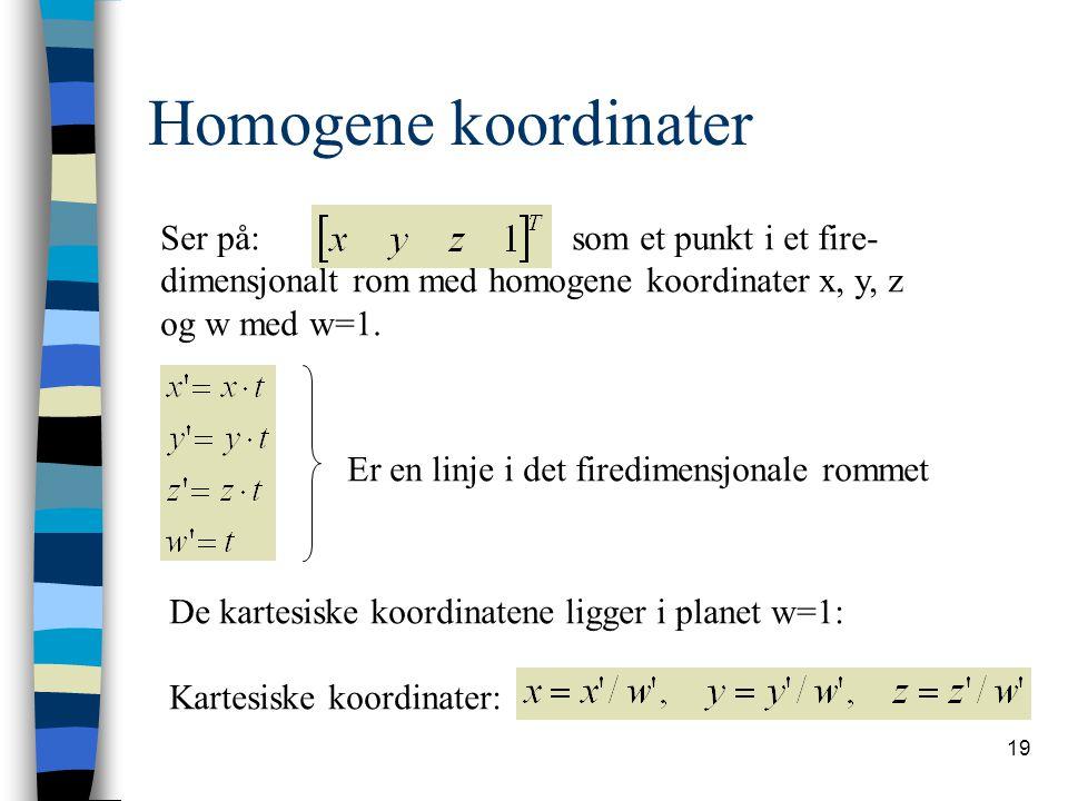 Homogene koordinater Ser på: som et punkt i et fire-