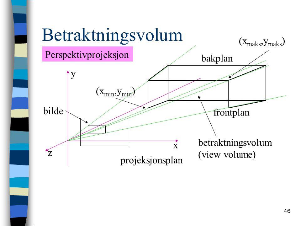 Betraktningsvolum (xmaks,ymaks) Perspektivprojeksjon bakplan y